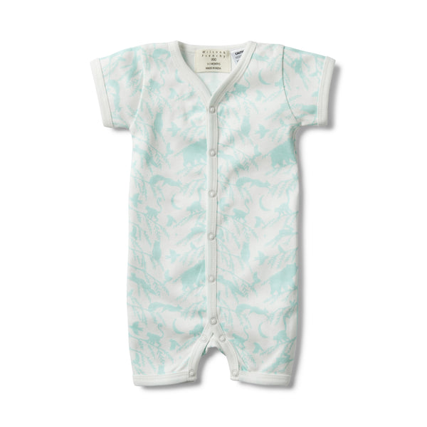 BLUE ADVENTURE AWAITS SHORT SLEEVE OPEN FRONT GROWSUIT - Wilson and Frenchy
