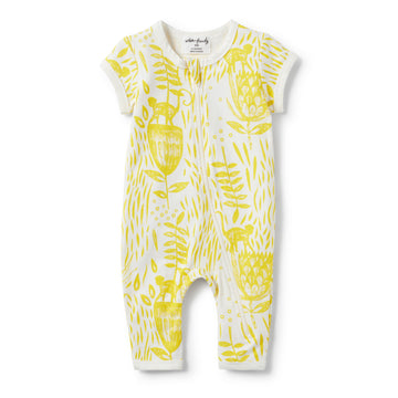 MELLOW YELLOW SHORT SLEEVE ZIPSUIT-ZIPSUIT-Wilson and Frenchy