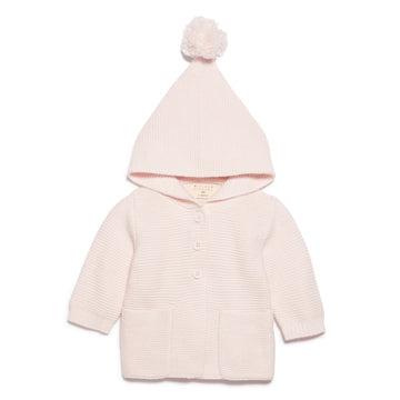 MARSHMELLOW KNITTED JACKET WITH HOOD-Wilson and Frenchy