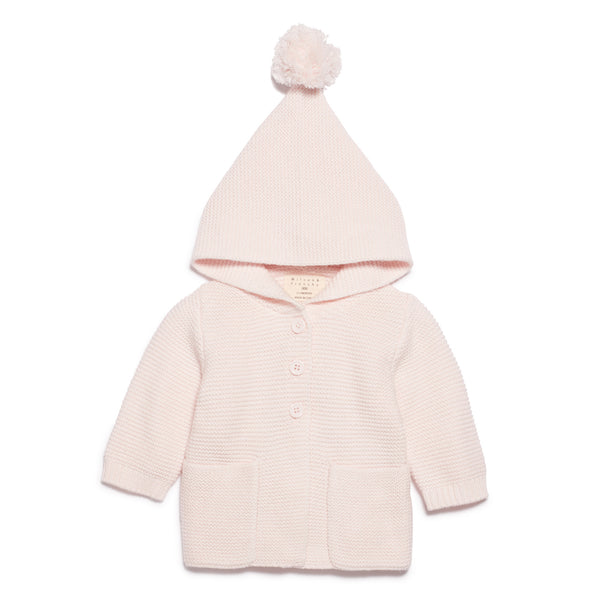 MARSHMELLOW KNITTED JACKET WITH HOOD