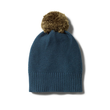 STEEL BLUE KNITTED HAT WITH POM POM