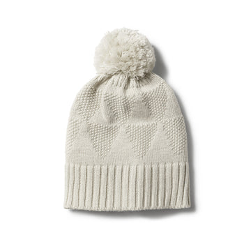 ICE GREY KNIT HAT WITH POM POM - Wilson and Frenchy
