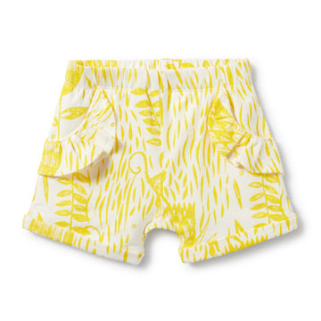 MELLOW YELLOW RUFFLE POCKET SHORTS-SHORTS-Wilson and Frenchy