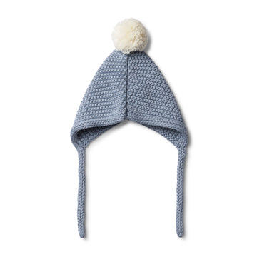 DUSTY BLUE KNITTED BONNET - Wilson and Frenchy