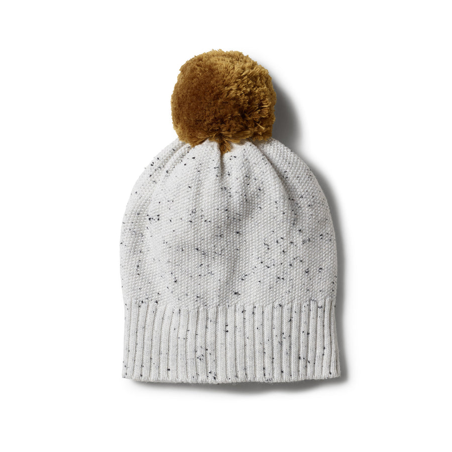 GREY SPECKLE KNITTED HAT WITH POM POM - Wilson and Frenchy