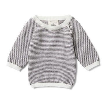 CHARCOAL STRIPE KNITTED JUMPER-KNITTED JUMPER-Wilson and Frenchy