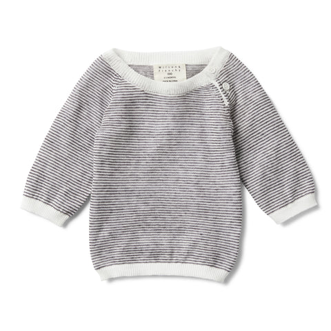 CHARCOAL STRIPE KNITTED JUMPER