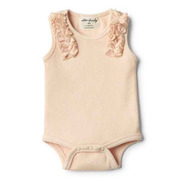 Peach Dust Bodysuit with Ruffle - Wilson and Frenchy