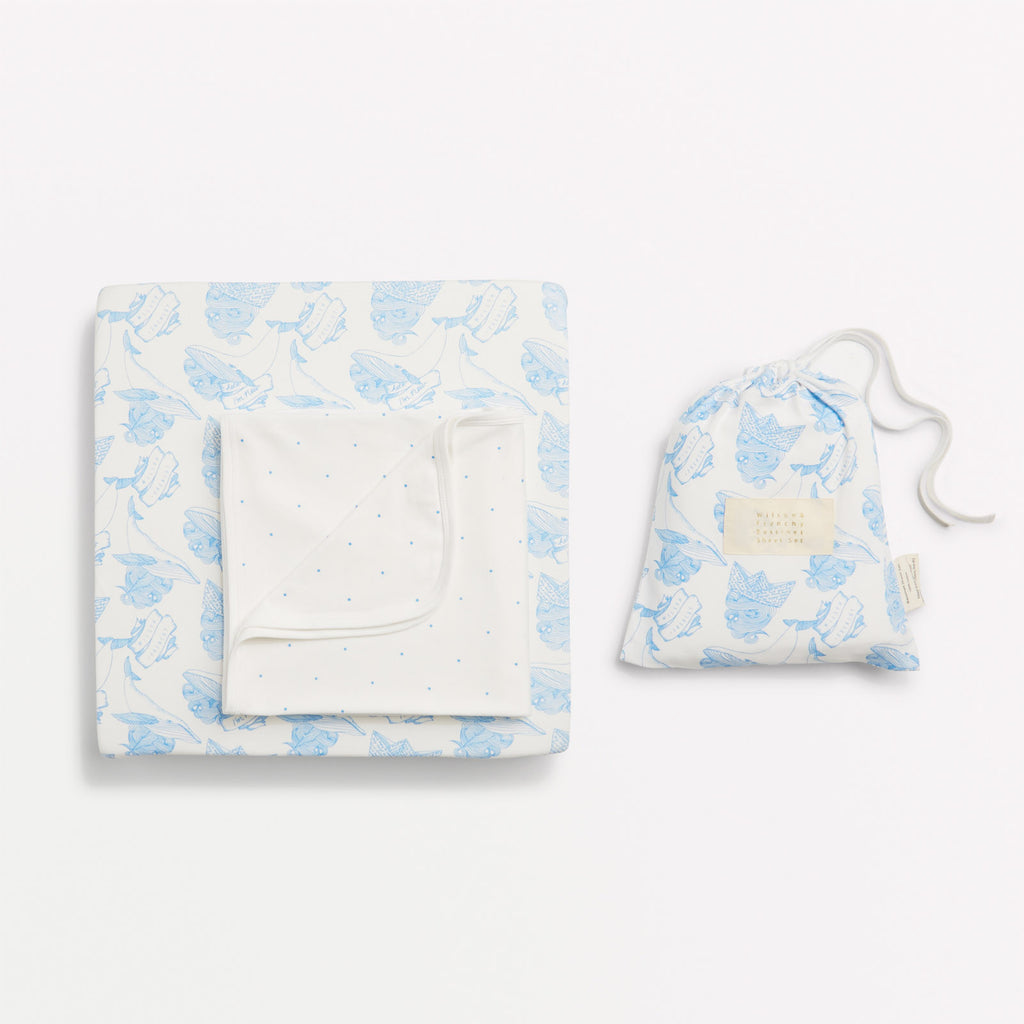 A whale of a time cot sheet set