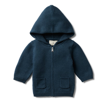 MAJOLICA BLUE KNITTED ZIP THROUGH JACKET-Wilson and Frenchy