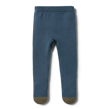 STEEL BLUE KNITTED LEGGING WITH FEET