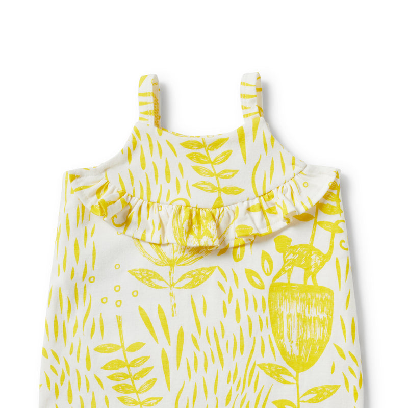 MELLOW YELLOW RUFFLE SINGLET STRAP PLAYSUIT - Wilson and Frenchy