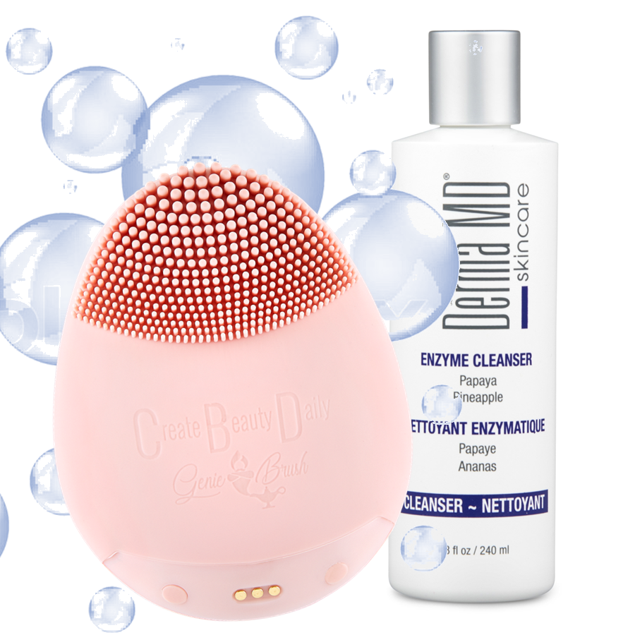Genie Silicone Cleansing Brush + FREE Enzyme Cleanser