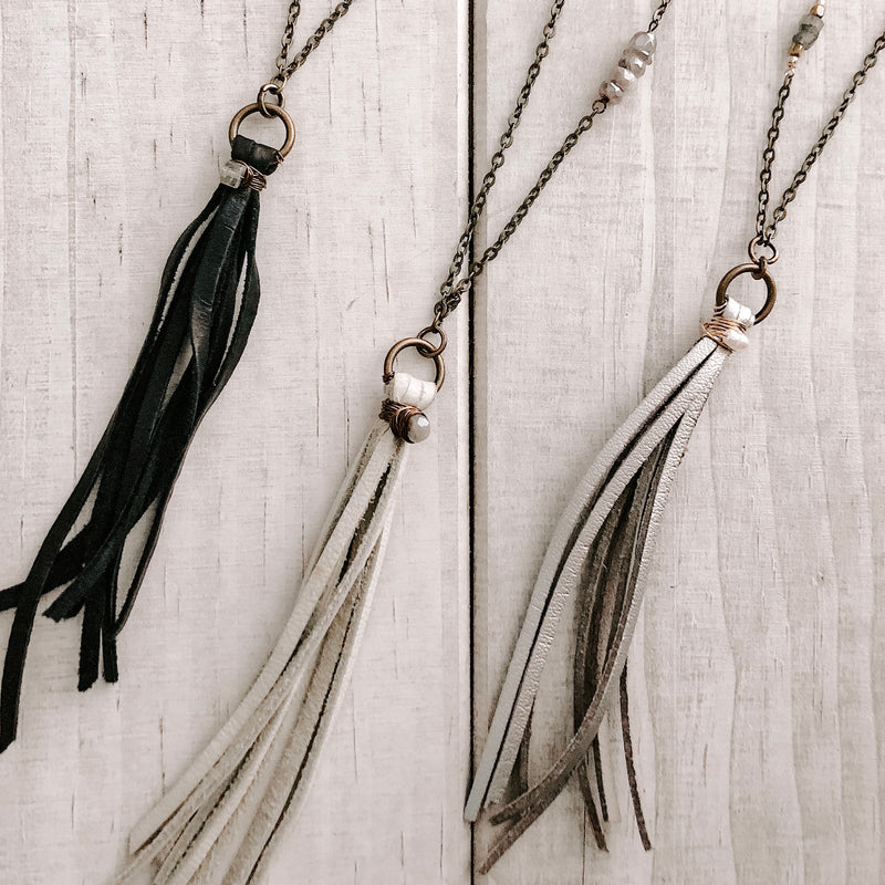 LEATHER TASSEL & PEARLS