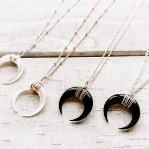 BLACK BUFFALO HORN NECKLACE