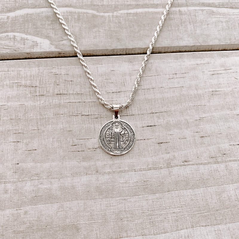 MENS STERLING SILVER ST. BENEDICT NECKLACE