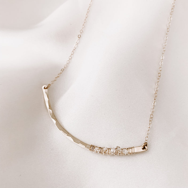 HERKIMER DIAMOND CURVED NECKLACE