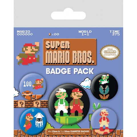 Super Mario Bros. Retro Badge Pack