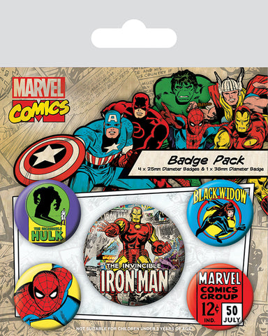 Marvel Retro Ironman Badge Pack