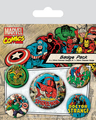 Marvel Retro Spiderman Badge Pack