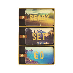 Luggage Tag Set of 3 Travel Photo Ready Set Go