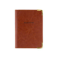 Passport Case Brown with Gold Corners