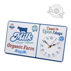 Metal Wall Clock Milk