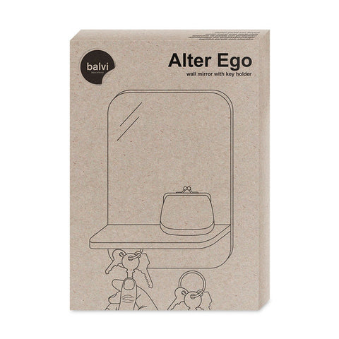 Wall Mirror With Key Holder Alter Ego White