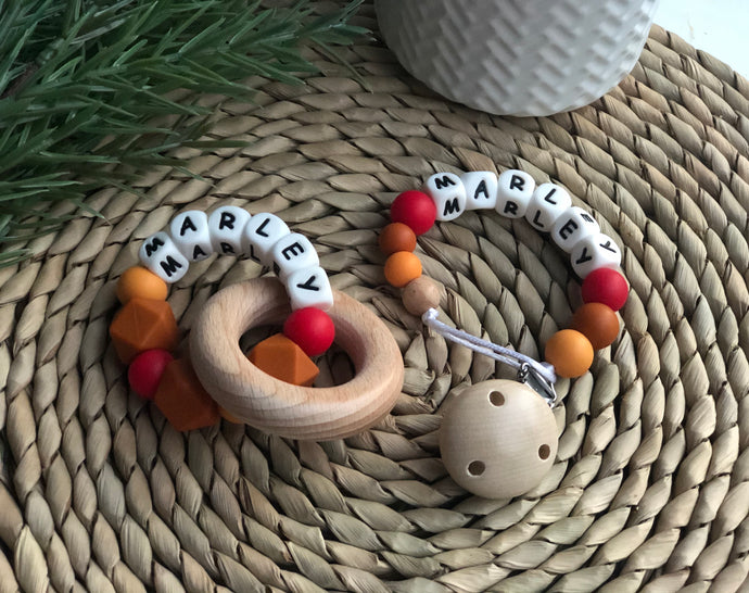 Personalised Silicone Teether & Dummy Chain Combo