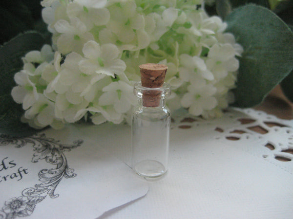0.7 ml Glass Bottle with Cork Cover - 10(D)x24(H)mm #102405 --FREE SHIPPING