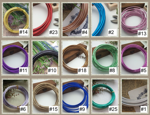 FREE SHIPPING - 2 rolls special - 8 gauge (3mm) Aluminum Wire - 15 colors for choice