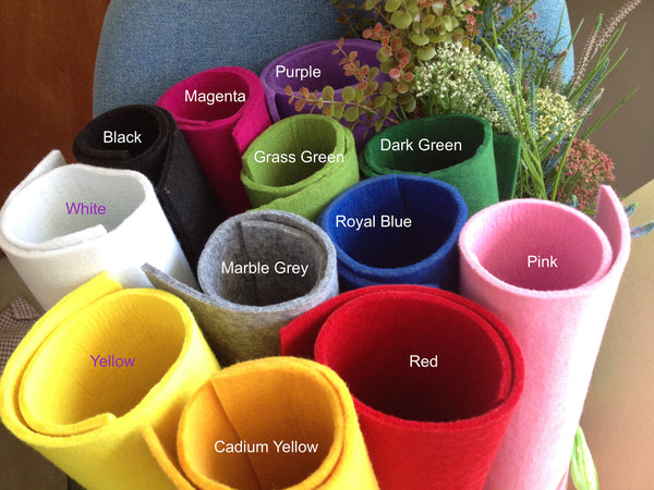 "5mm Thick Polyester Felt Fabric Sheet - 48 x 48 cm (19""x19"") - 12 colors for choice"