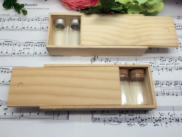 6 pcs Mini Glass Bottles Set in Wooden Box (Box Size: 17.5 x 7 x 3.5cm)