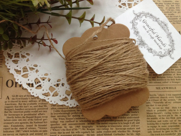 FREE SHIPPING - KRAFT JUTE Burlap String - NATURAL- 100 meter (over 100 yards)