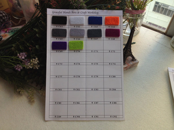 FREE SHIPPING - 1 Meter - 3mm Thick Polyester Felt Fabric - 70 Colors for choice
