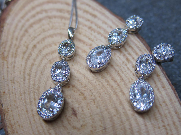 100% 925 Sterling Silver Cubic Zirconia Victorian Oval Pendant with Chain & Earrings Set - RW0001