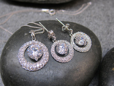 100% 925 Sterling Silver Cubic Zirconia Planet Pendant with Chain & Earrings Set - RW0006