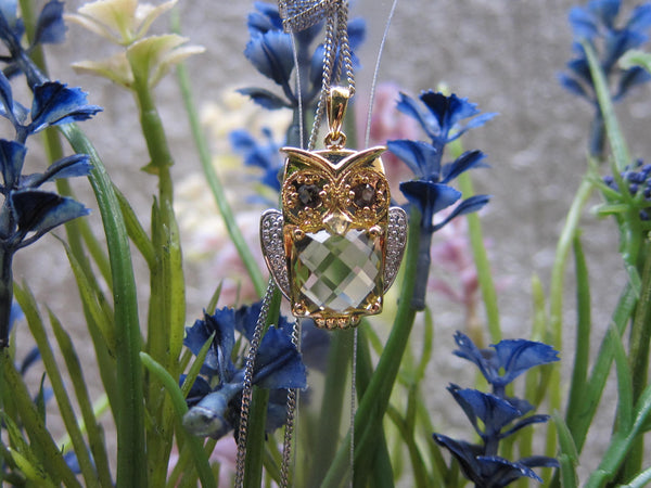 100% 925 Sterling Silver Cubic Zirconia Owl Pendant with Chain - RW0011