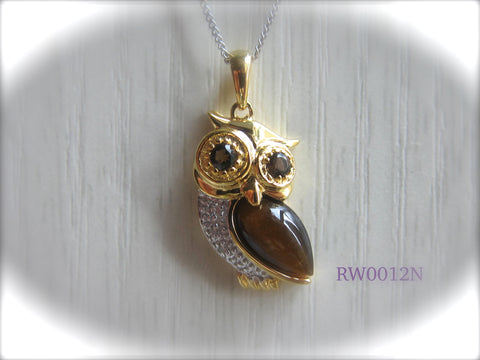 100% 925 Sterling Silver Cubic Zirconia Owl Pendant with Chain - RW0012