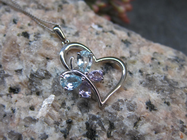 100% 925 Sterling Silver Cubic Zirconia Heart & Butterfly Pendant with Chain  - RW0015