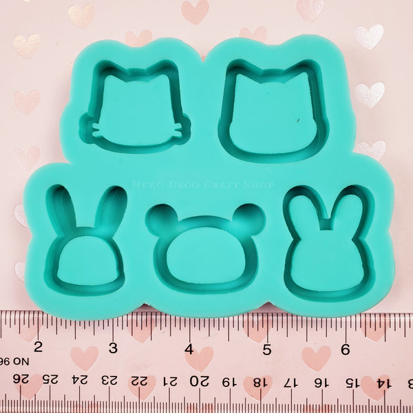 (PRE-ORDER) Medium Silicone Mold: Grip-Sized Animal Head Palette