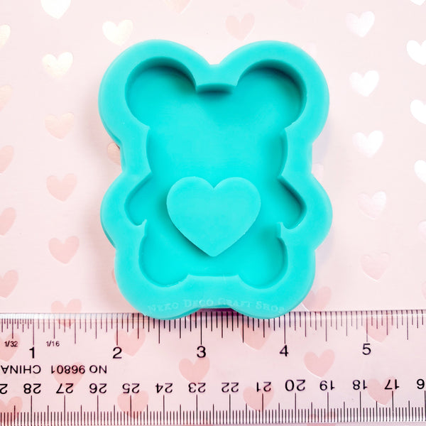 (PRE-ORDER) Small Silicone Mold: Bear with Heart Shaker