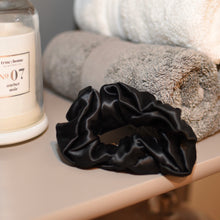 Load image into Gallery viewer, Thick Mulberry Silk Scrunchies - Noir