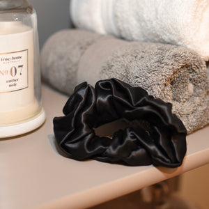 Thick Mulberry Silk Scrunchies - Noir