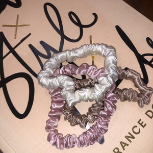 Skinny Scrunchie Gift Set - Blush, Snow & Champagne