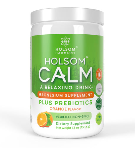 Holsom Calm, Magnesium Anti Stress Powder with Probiotics, Orange - 16 oz