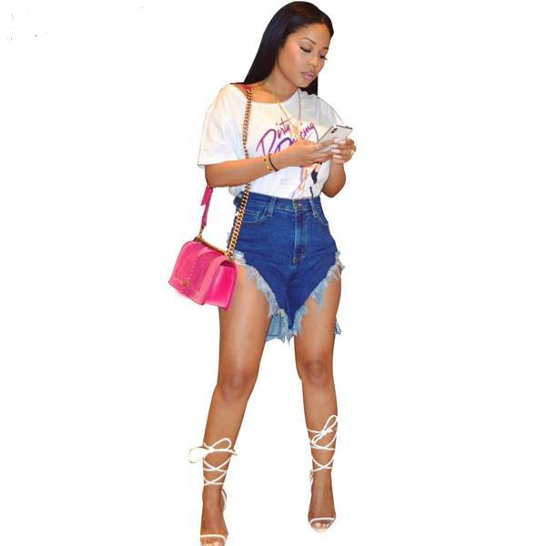 Sexy High Waist Stretch Jean Biker Shorts - So So Boujee