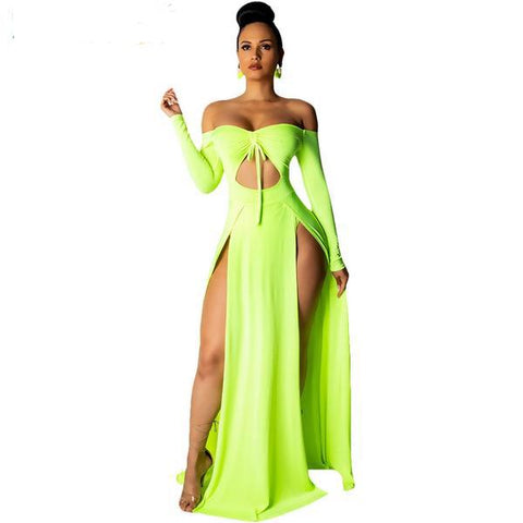 Sexy Neon Green/Red/White Off Shoulder Cut Out Dress - So So Boujee