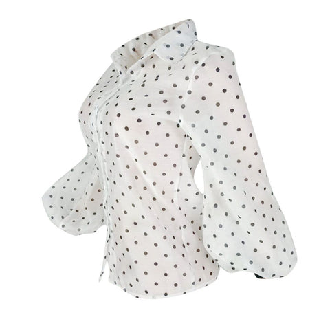 Polka Dot Blouse with Lantern Sleeves