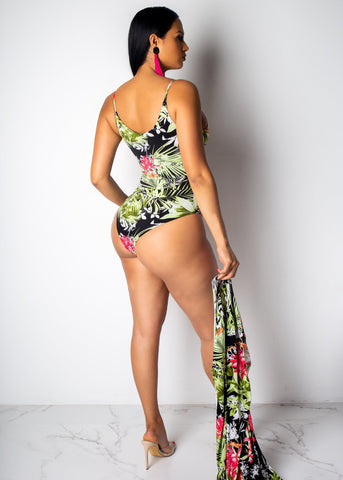 Floral Summer Beach Sexy Three Piece Set